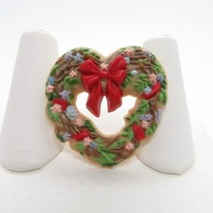 Heart Wreath Pin Brooch Vintage Christmas Hallmark